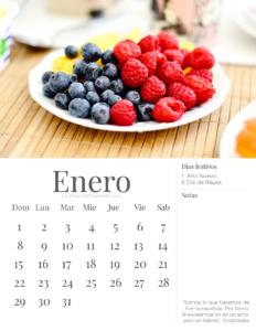 Calendario descargable imprimible Enero 2017 Una mamá millennial